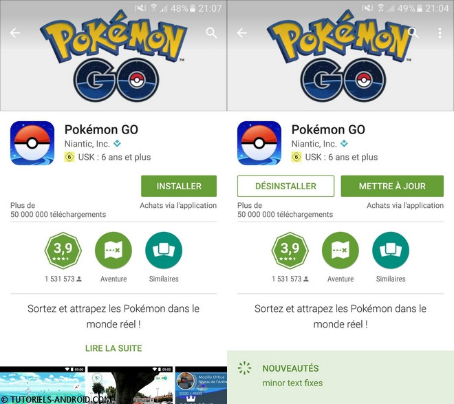 Pokemon GO sur Google Play France