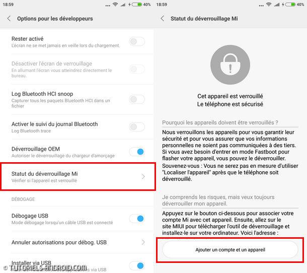 Unlock Xiaomi Bootloader : Activer Statut de déverrouillage Mi