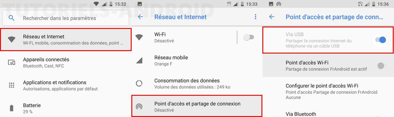 Activer partage de connexion via USB