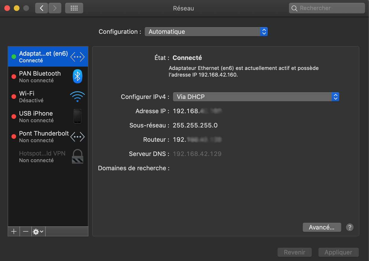 Mac connecté via Android USB Tethering