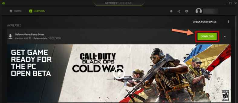 Nvidia GeForce Game Ready Driver for Call of Duty Black Ops Cold War