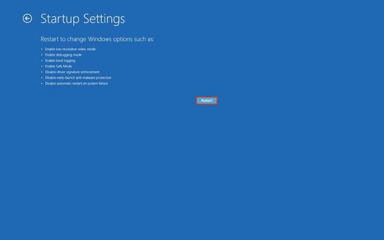 Startup settings restart option