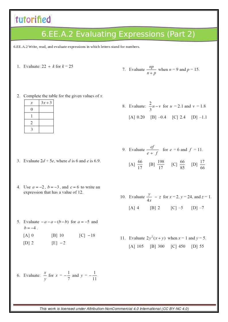 hight resolution of 6th Grade Common Core Math Worksheets