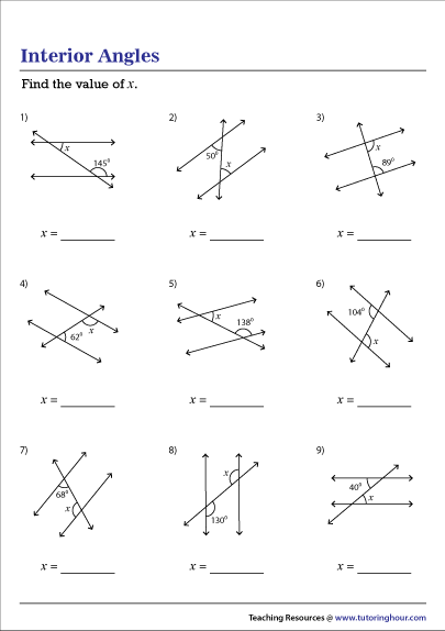 Angles And Parallel Lines Worksheet Answers : angles, parallel, lines, worksheet, answers, Interior, Angles, Parallel, Lines, Worksheet