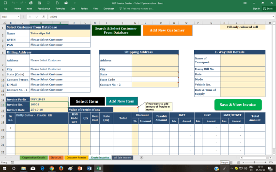 Create Invoice  - GST Invoice Format | Download Free Dynamic Excel sheet
