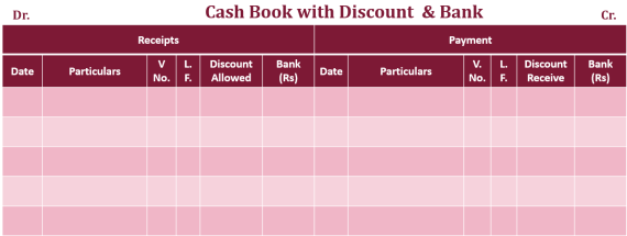 Double column Cash book with bank and discount column  - Double Column Cash Book | Example