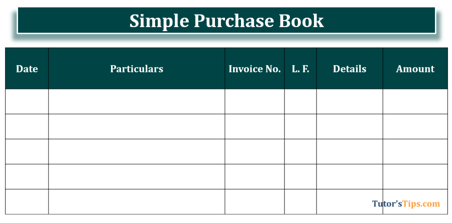 Simple Purchase Book format