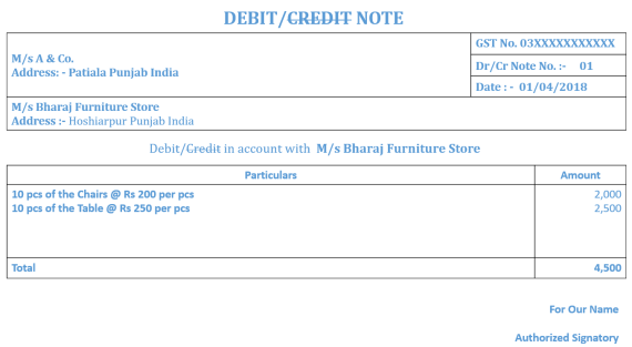 Debit- Credit Note Ex 1