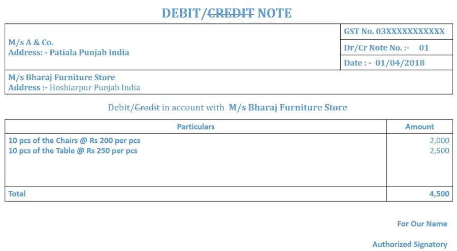 Debit- Credit Note Ex 1