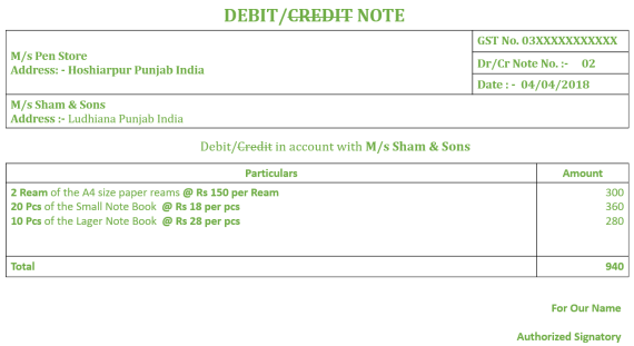 Debit Note No. 02