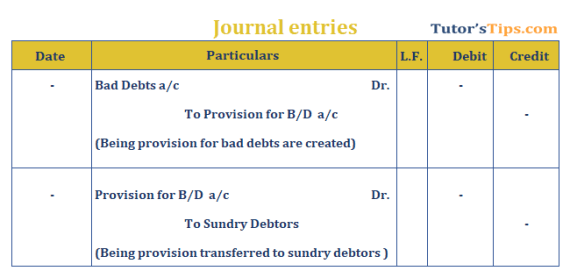 Provision in Accounting Journal Entry for provision for Bad debts - Provision in accounting: Meaning, Types, Treatment