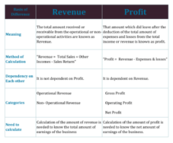Chart of Difference Between Revenue and Profit