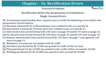 Q 08 CH 16 USHA 1 Book 2020 Solution min - Chapter No. 16 - Rectification of Errors- USHA Publication Class +1 - Solution