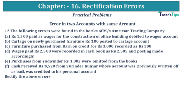 Q 12 CH 16 USHA 1 Book 2020 Solution min - Chapter No. 16 - Rectification of Errors- USHA Publication Class +1 - Solution