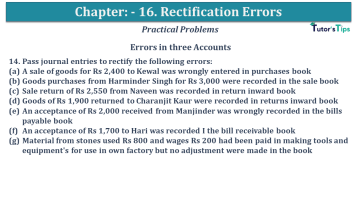 Q 14 CH 16 USHA 1 Book 2020 Solution min - Chapter No. 16 - Rectification of Errors- USHA Publication Class +1 - Solution