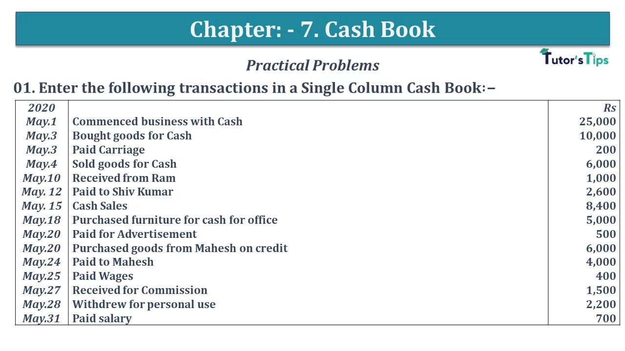 Q 01 CH 7 D.K Goal 1 Book 2020 Solution min - Chapter 7 Books of Original Entry – Cash Book - D.K. Goel -(Class 11 - ISC)- Solution