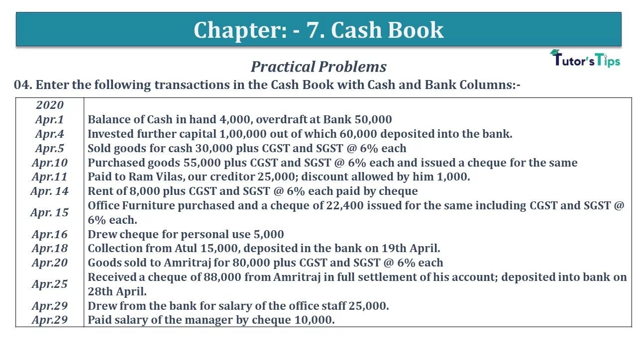 Q 04 CH 7 D.K Goal 1 Book 2020 Solution min - Chapter 7 Books of Original Entry – Cash Book - D.K. Goel -(Class 11 - ISC)- Solution