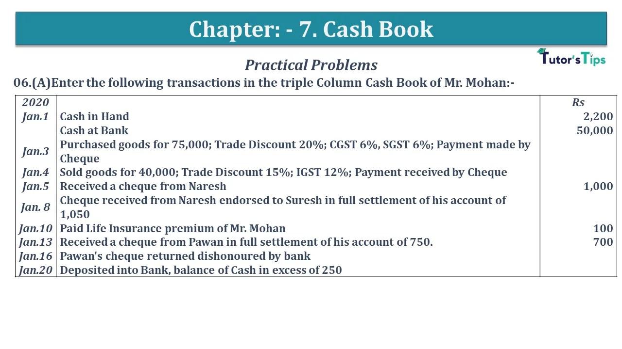 Q 06A CH 7 D.K Goal 1 Book 2020 Solution min - Chapter 7 Books of Original Entry – Cash Book - D.K. Goel -(Class 11 - ISC)- Solution