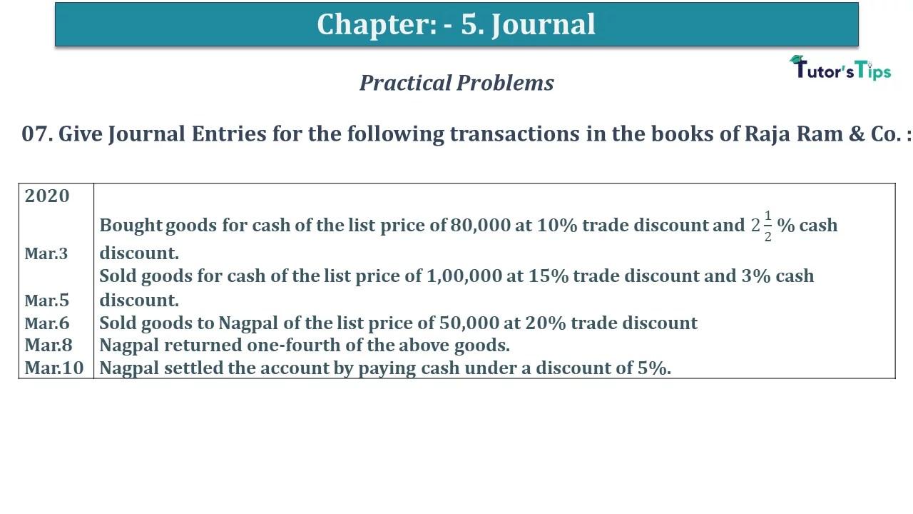 Q 07 CH 5 D.K Goal 1 Book 2020 Solution min - Chapter 5 Books of Original Entry – Journal - D K Goel -(Class 11 - ICSE) - Solution