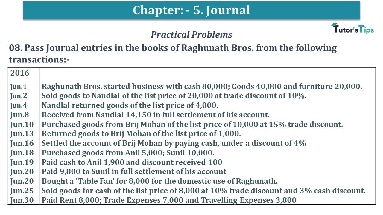 Q 08 CH 5 D.K Goal 1 Book 2020 Solution min - Chapter 5 Books of Original Entry – Journal - D K Goel -(Class 11 - ICSE) - Solution
