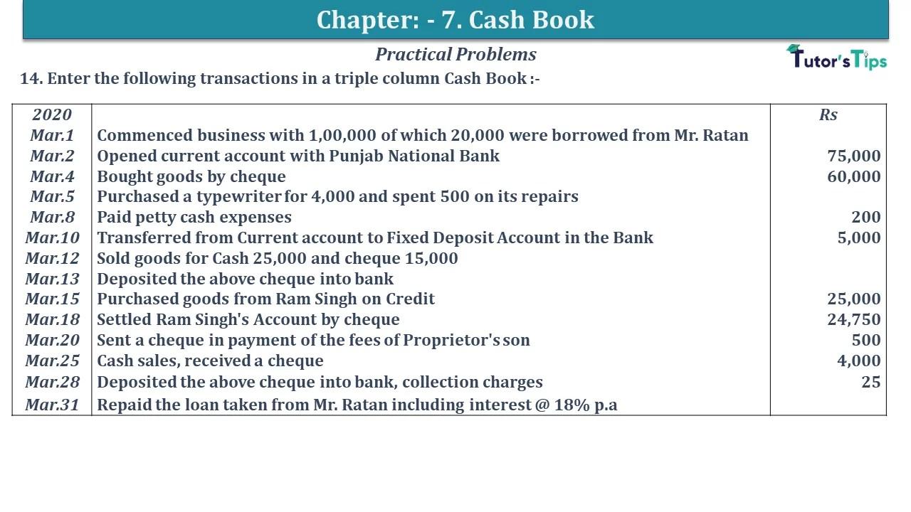 Q 14 CH 7 D.K Goal 1 Book 2020 Solution min - Chapter 7 Books of Original Entry – Cash Book - D.K. Goel -(Class 11 - ISC)- Solution