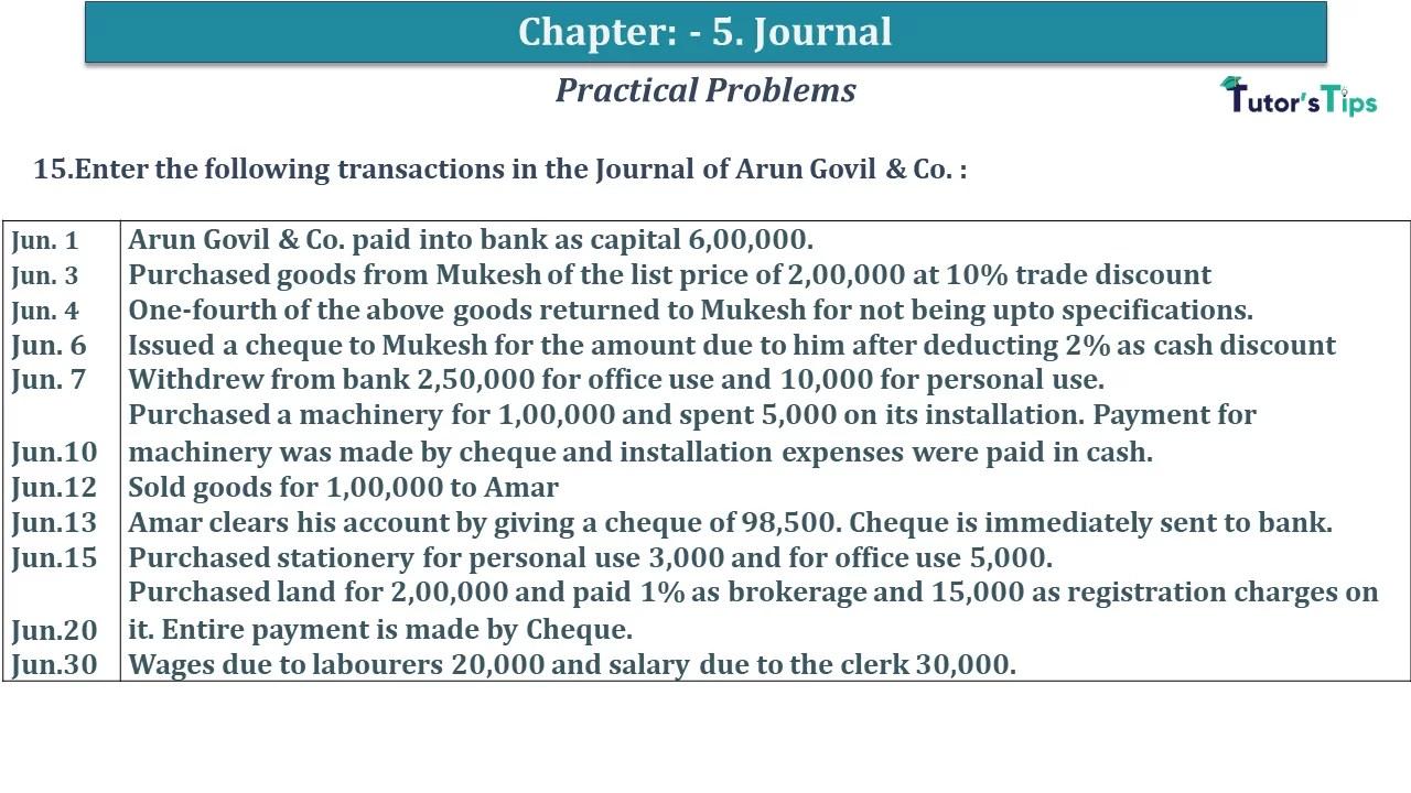 Q 15 CH 5 D.K Goal 1 Book 2020 Solution min - Chapter 5 Books of Original Entry – Journal - D K Goel -(Class 11 - ICSE) - Solution