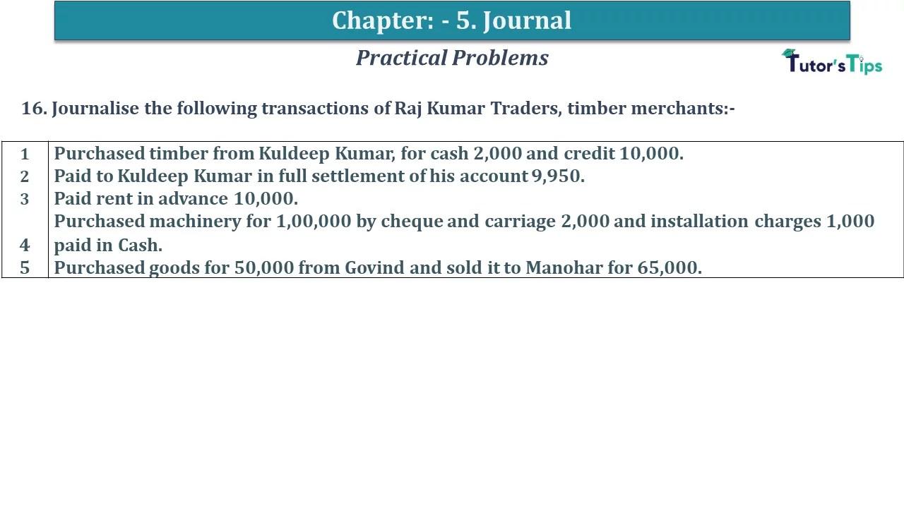 Q 16 CH 5 D.K Goal 1 Book 2020 Solution min - Chapter 5 Books of Original Entry – Journal - D K Goel -(Class 11 - ICSE) - Solution