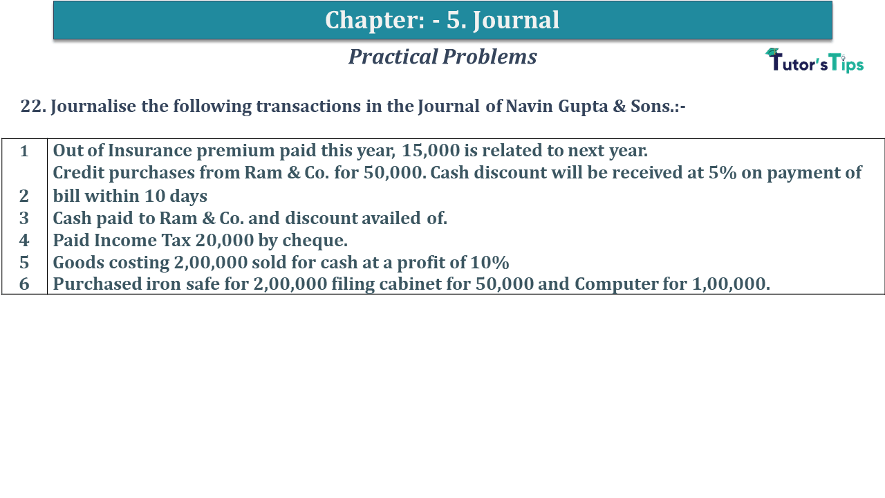 Q 22 CH 5 D.K Goal 1 Book 2020 Solution min - Chapter 5 Books of Original Entry – Journal - D K Goel -(Class 11 - ICSE) - Solution
