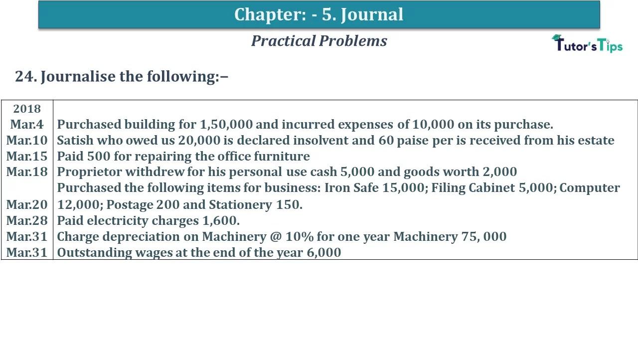 Q 24 CH 5 D.K Goal 1 Book 2020 Solution min - Chapter 5 Books of Original Entry – Journal - D K Goel -(Class 11 - ICSE) - Solution