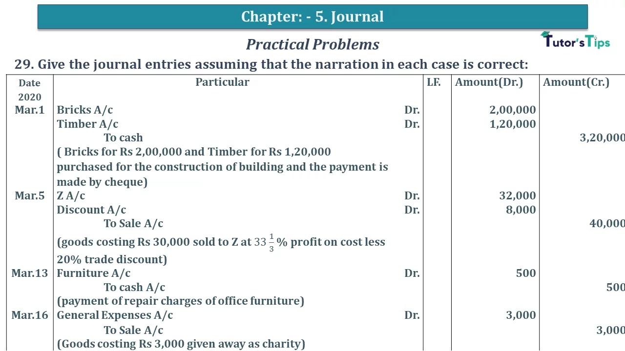 Q 29 CH 5 D.K Goal 1 Book 2020 Solution min - Chapter 5 Books of Original Entry – Journal - D K Goel -(Class 11 - ICSE) - Solution