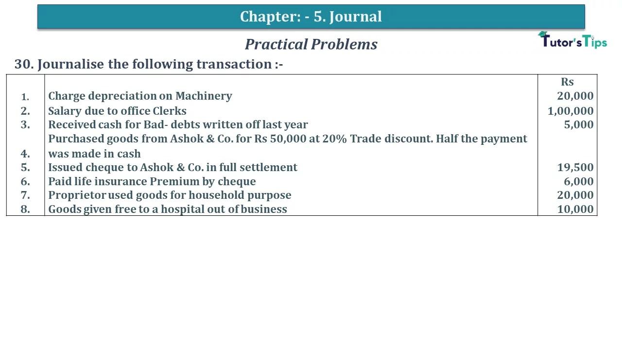 Q 30 CH 5 D.K Goal 1 Book 2020 Solution min - Chapter 5 Books of Original Entry – Journal - D K Goel -(Class 11 - ICSE) - Solution