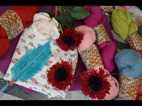 comment réaliser fleurs et plumes en laine 🌹tutoriel, loisirs créatifs