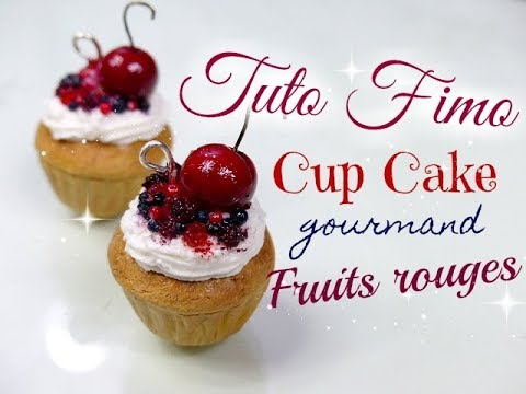// Tuto fimo : cupcake fruit rouge \