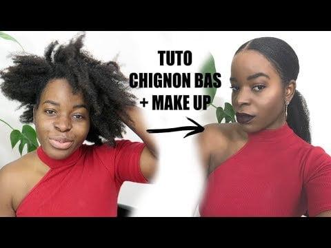TUTORIEL CHIGNON BAS SUR CHEVEUX CRÉPUS