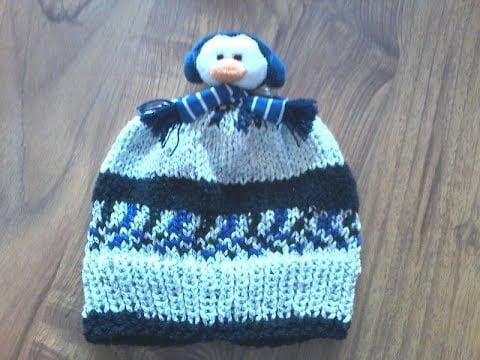 tuto tricot / tricoter un bonnet enfant  pompon pingouin