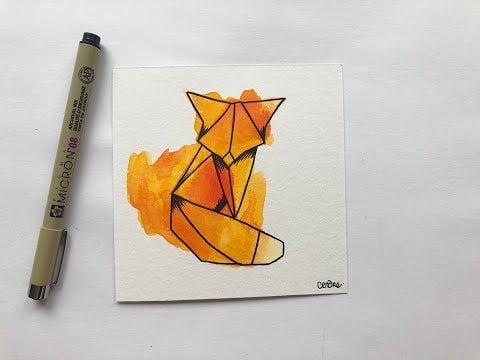 TUTO aquarelle: Le renard géométrique