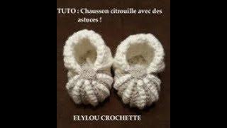 TUTO crochet : chausson citrouille, technique facile / crochet tutorial: pumpkin slipper