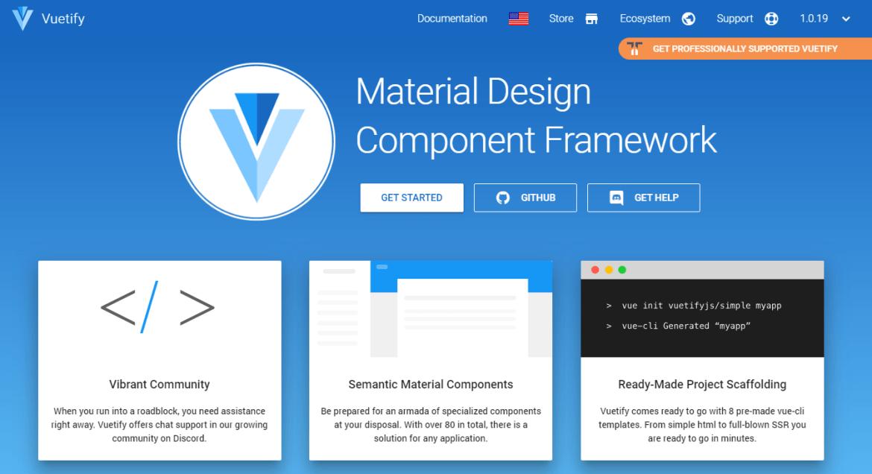 Vuetify Material Design Framework