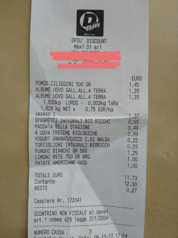 scontrino spesa settimanale risparmio dpiù discount