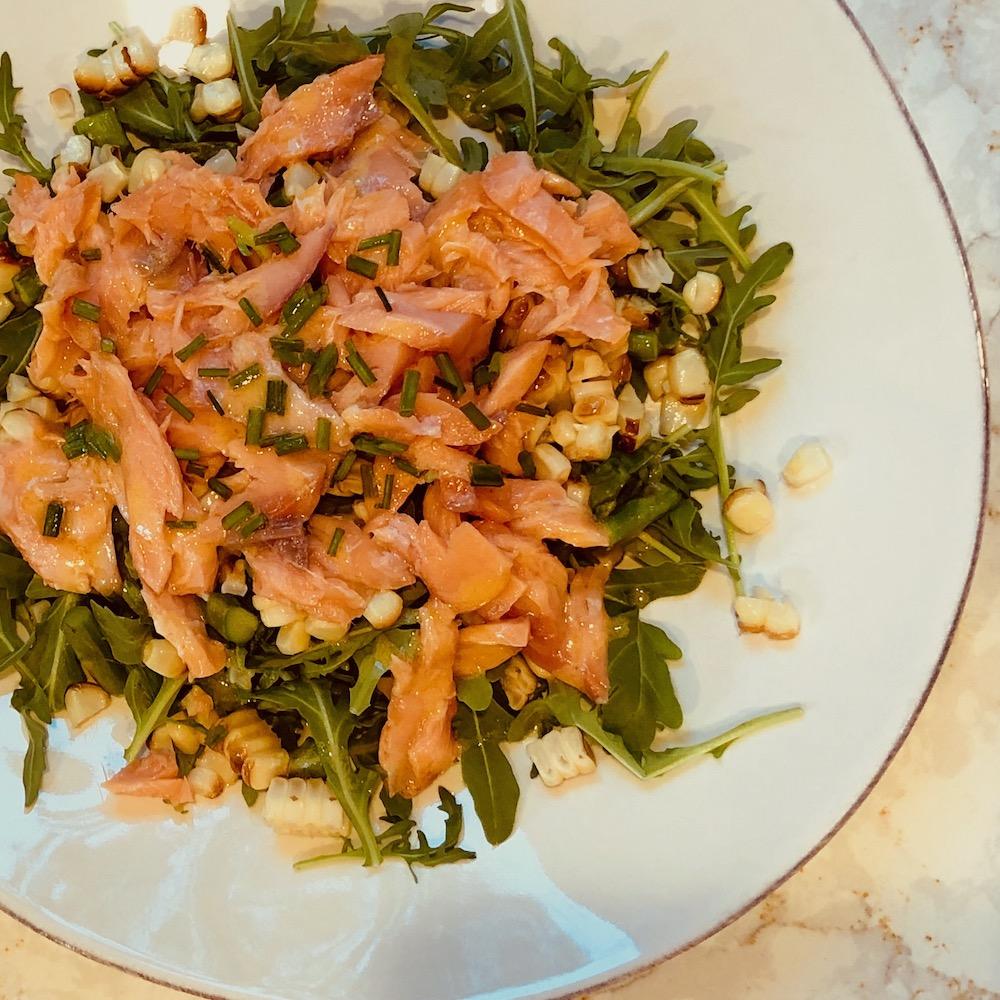 Salmon, Corn, Arugula Salad