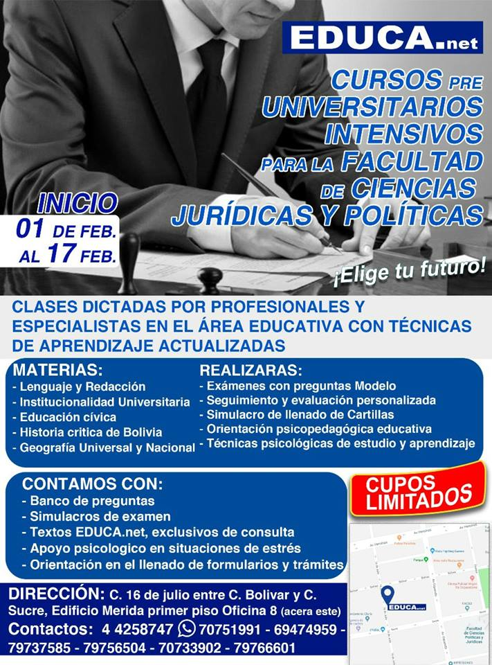 CURSOS PRE UNIVERSITARIOS CIENCIAS JURIDICAS Y POLÍTICAS.