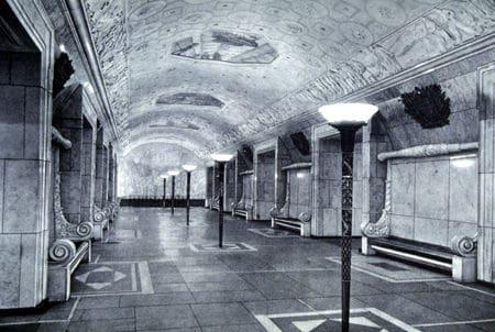 Центральный зал в 1940-е годы