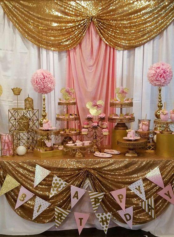 Fiesta Temtica de Minnie en Rosa y Dorado