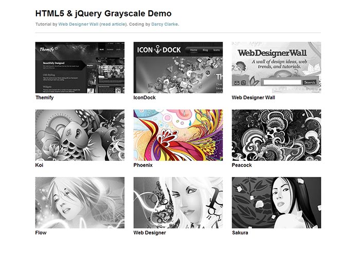 22. HTML5 Grayscale Image Hover