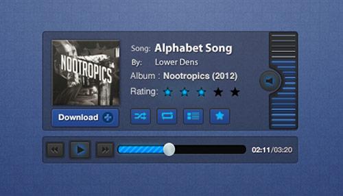 44 Freebie PSD UI Templates for Video Audio Players