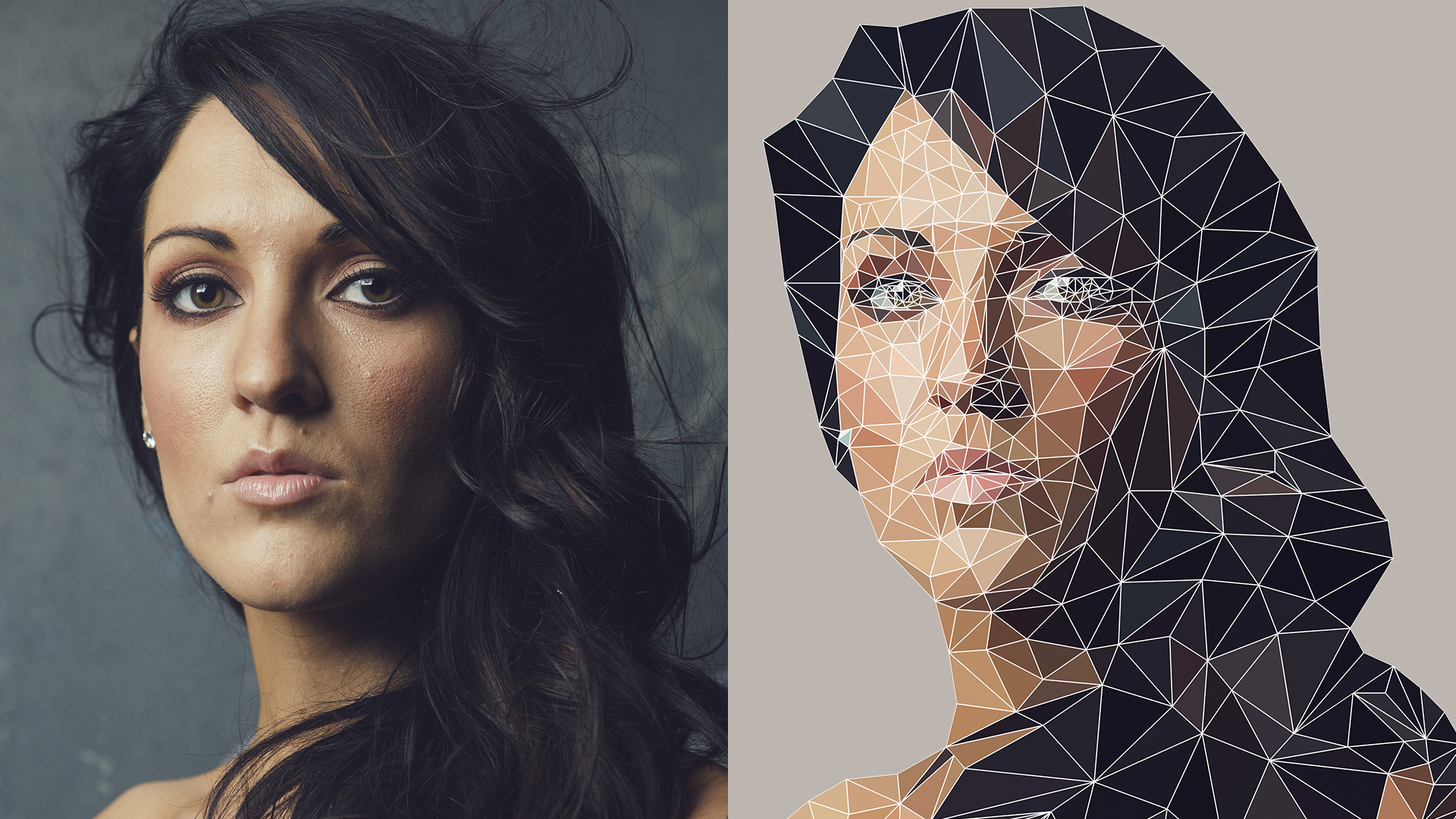 Low Poly Geometric Effect in Photoshop ONLY