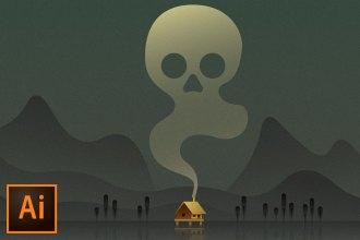 Create a Swamp Cabin Poster (Adobe Illustrator Tutorial)