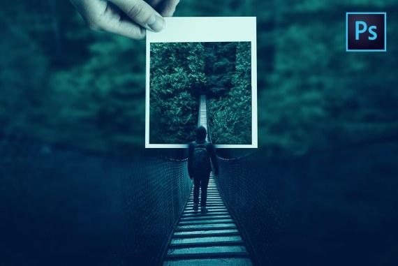 Bridge Out-of-focus Polaroid Photo Manipulation Photoshop Tutorial