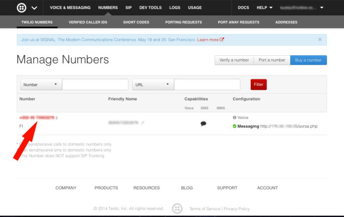 Twilio.com buying number part5