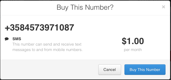 Twilio.com buying number part4